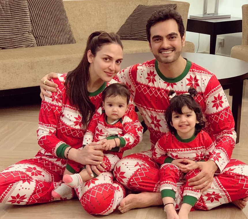 Esha-Deol-with-her-baby-and-husband
